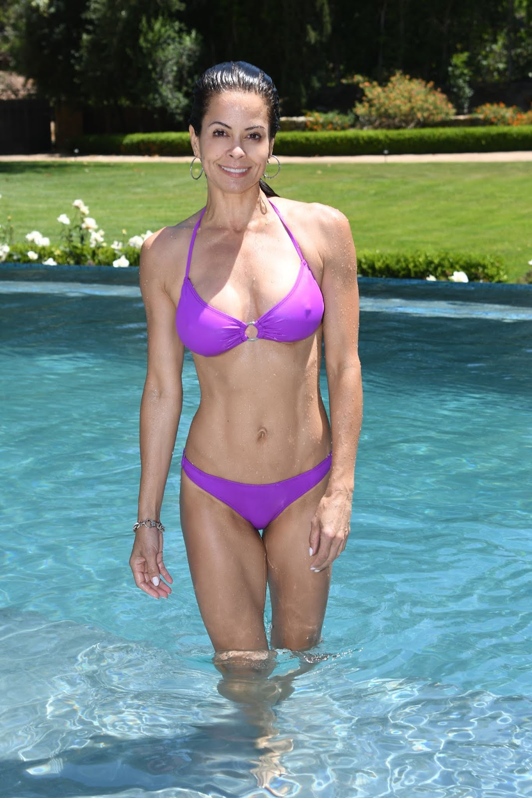 Brooke Burke in Purple Bikini at the pool in Malibu – Celeb ...