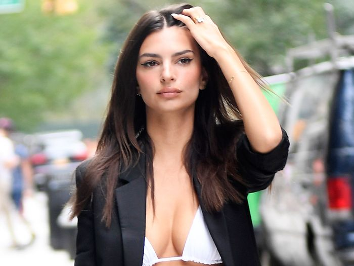 EmRata Wore a Bikini Top With Trousers and Heels in NYC ...