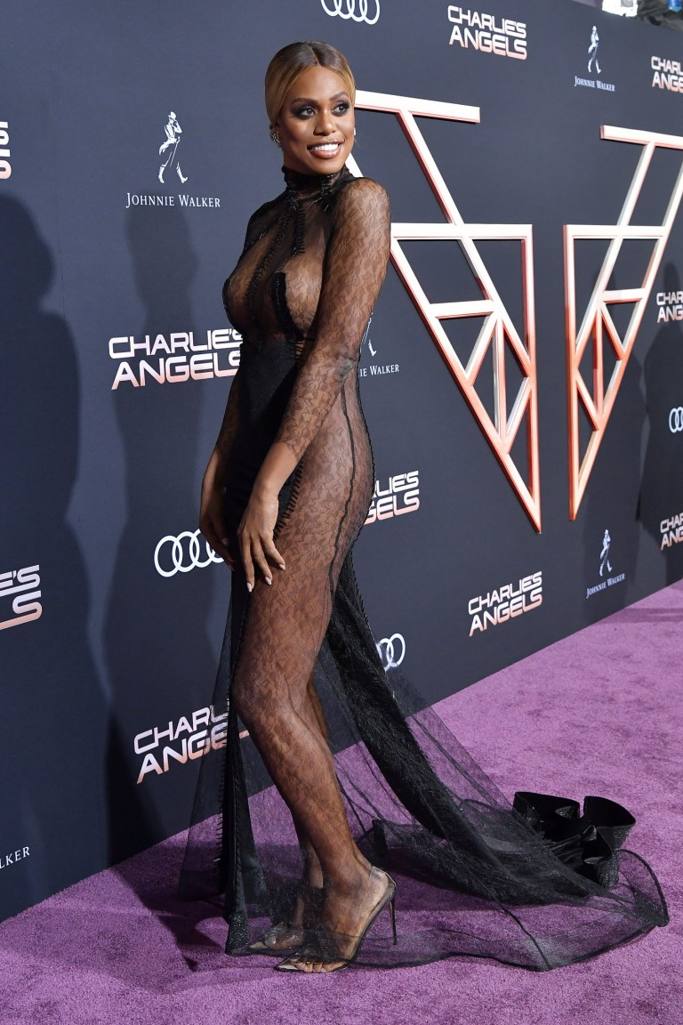 Laverne Cox naked illusion dress slays Charlie's Angels ...