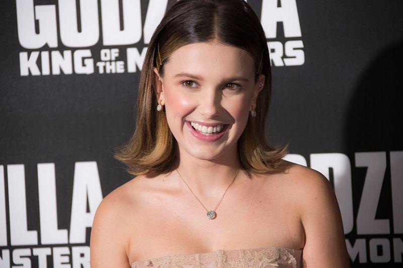 Millie Bobby Brown Goes Glam in Lacy Blush Gown at 'Godzilla ...