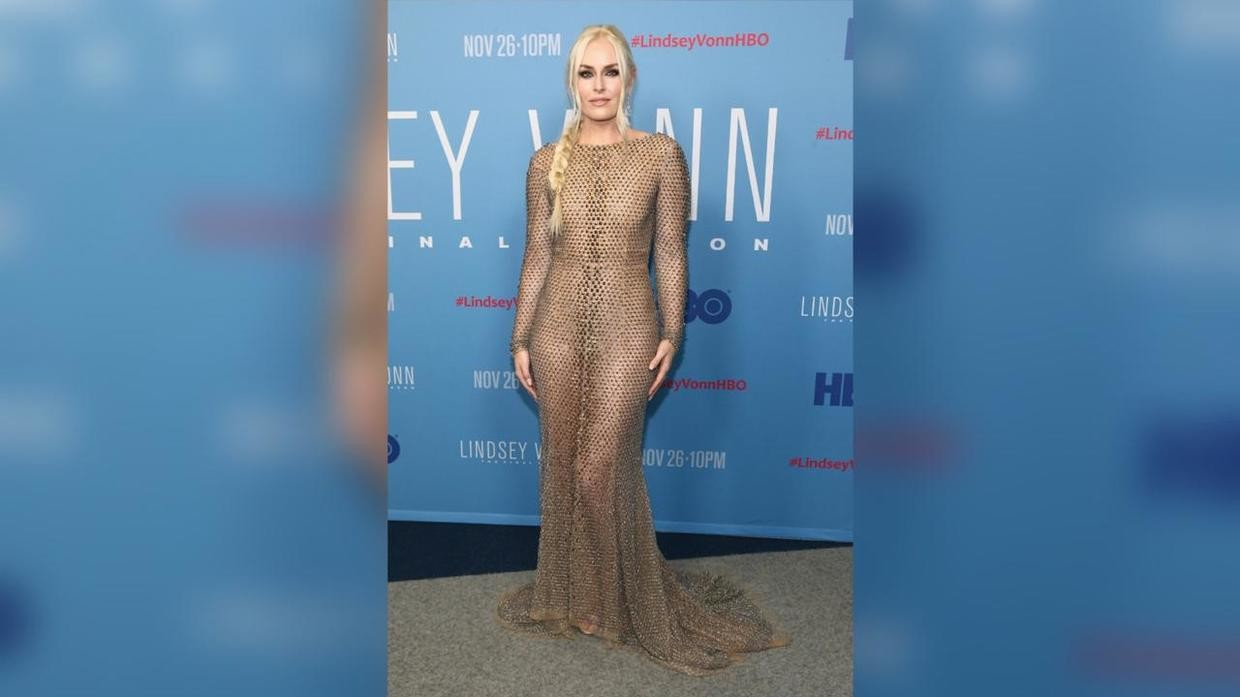US Olympic champ Lindsey Vonn dons 'nude dress' for premiere ...