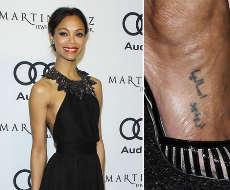 Zoe saldana foot arabic tattoo - Tattoos Book - 65.000 ...