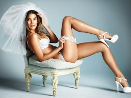 Lily Aldridge sexy bride lingerie wallpapers