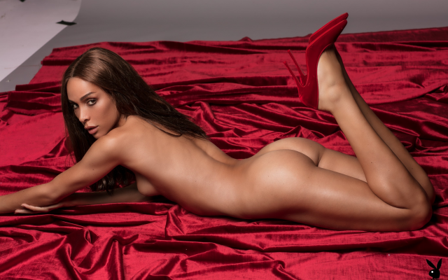 Photo ines rau, playboy, naked, tanned, red heels, ass, tits ...